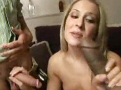 Interracial cuckold scene with cum eating