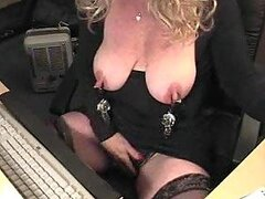 Hanging weights off nipples in webcam clip