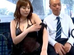 Busty Japanese slut Yuma Asami gets fucked in a public bus