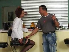 Mature is shaved and horny for his hard cock