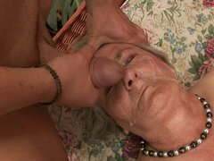 Slutty granny Margot blows and gets pounded outdoors