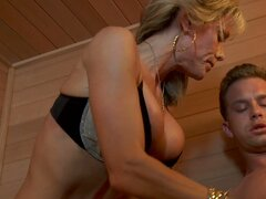 Jordan Lynn skinny busty mature woman blows cock and jumping on top.