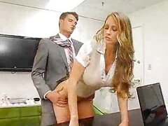 Incredible busty business chick fucked by her boss