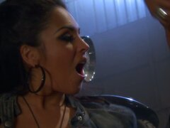Busty bikers Jenaveve Jolie, Sophia Santi, Nina Mercedez eat pussies in the garage