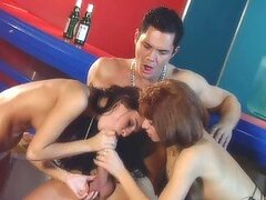 Sexy Redhead and Brunette Gals Sharing a Big Cock In FFM Threesome