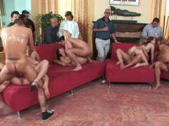 Classic orgy with many naked and hot babes get fucked