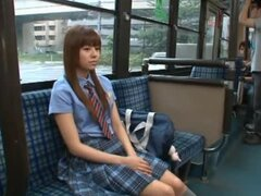 Rina Rukawa hot Asian babe gives a blowjob on a bus
