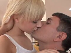 Beautiful blonde teen likes to kiss and fuck