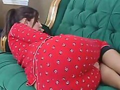 An attractive teen lays down zonked and her lesbian mate toys with her