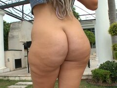 Giant curvy butt of blonde bitch Duvy is shown from different angles