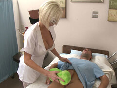 Horny nurse gets instructions to wash the cock so she sucks it with her mouth