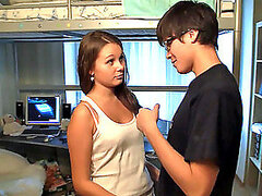 Nerdy Dude Getting Lucky with a Gorgeous Brunette Teen