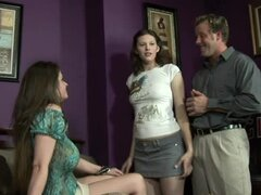 Horny Mom Gets Between Her Daughter and Her BF in an FFM Threesome